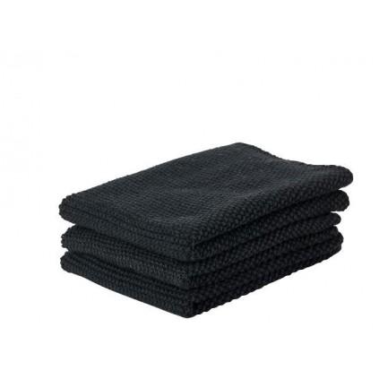 Zone Kjøkkenkluter sort 3 pakning